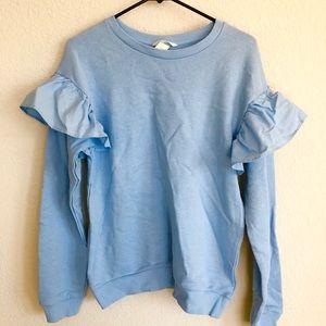 ❗️sale H&M blue sweatshirt ruffle sleeve top